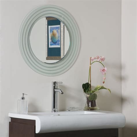bathroom frameless mirror decor wonderland isabella round frameless bathroom mirror