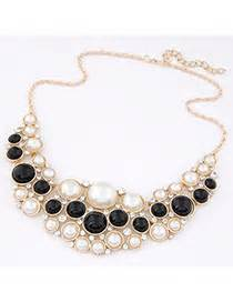 Kalung Black Multilayer Simple Design White Pearl electric black pearl decorated multilayer design asujewelry