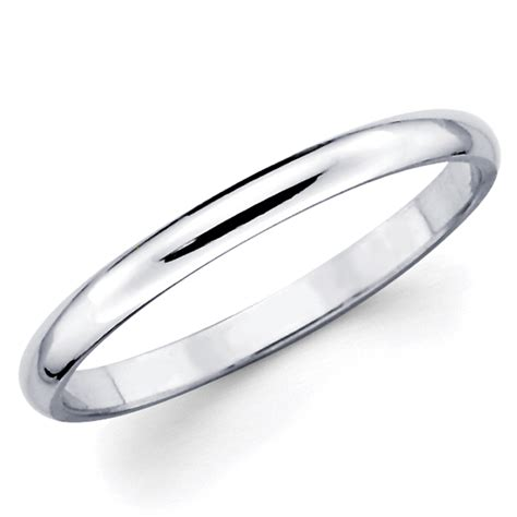 10k solid white gold 2mm plain s and s wedding