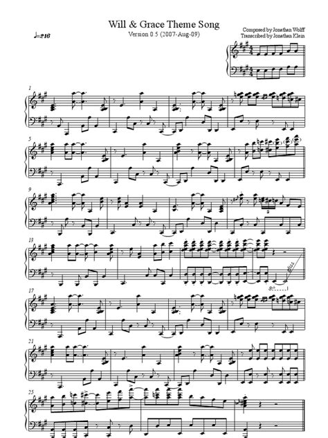 theme song will grace theme piano sheet