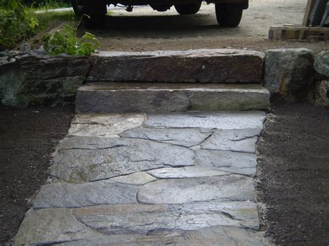 maine stonework masonry hardscaping perennial stone granite walkway and retaining wall