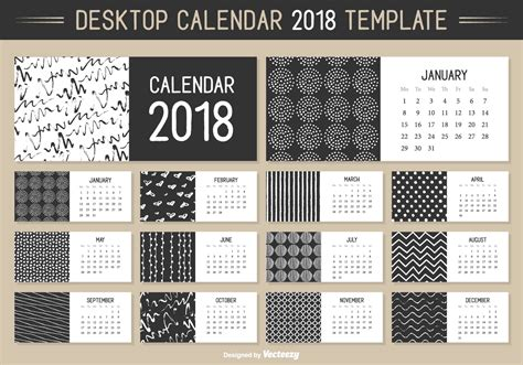 desktop calendar templates monthly desktop calendar 2018 vector template