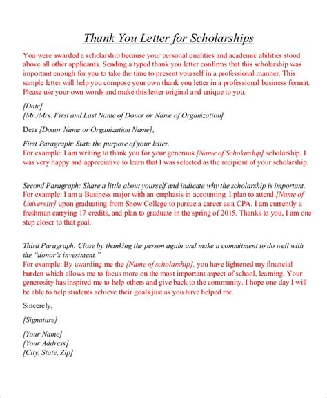 Scholarship Thank You Letter Format Sle Thank You Letter For Scholarship 7 Exles In Word Pdf
