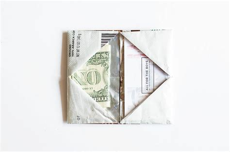 Origami Money Holder - origami wallet from a coffee bag giving back with