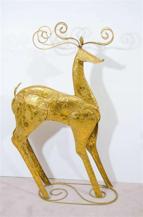 vintage set of two decorative sculptural reindeer for sale
