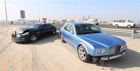 bentley dubai bentley arnage and porsche panamera crash in dubai