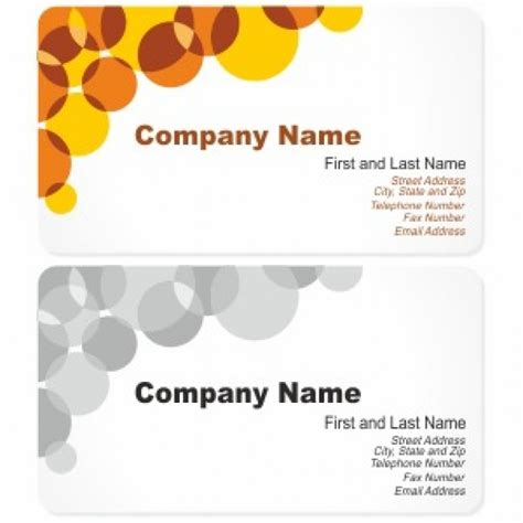 card company business card design with circles vector free