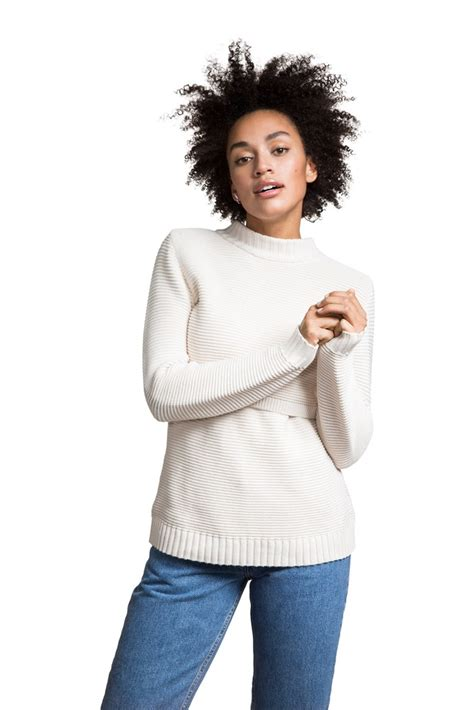 Rn Sweater Mismis Fit L design ribbed organic knitted maternity nursing sweater in white