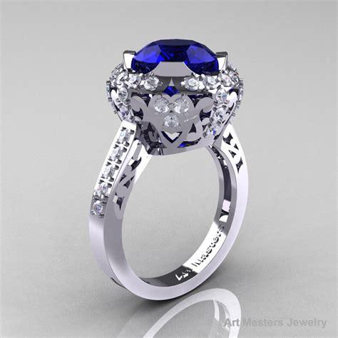 edwardian 14k white gold 3 0 carat blue sapphire