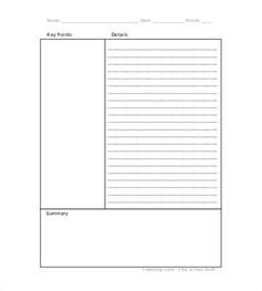 Cornell Note Template by Blank Cornell Note Template 4 Free Sle Exle
