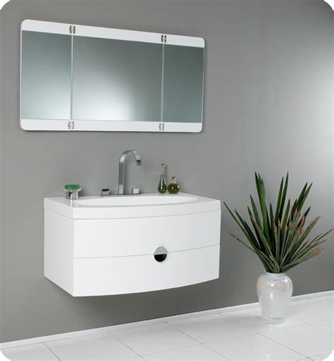 Mirrors For Bathroom Vanities 36 Energia Fvn5092pw White Modern Bathroom Vanity W Three Panel Folding Mirror Bathroom