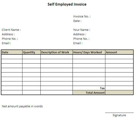 self employed invoice template excel invoice exle