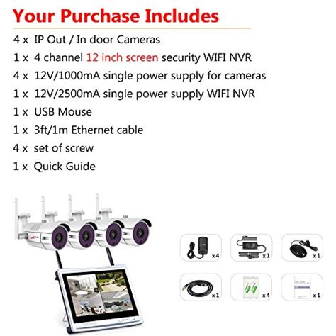 Ip Wifi 13mp anran 4ch 960p wireless home surveillance security system 4pcs 13mp wifi bullet ip