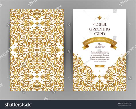 ornate card templates ornate vintage cards golden floral decor stock vector