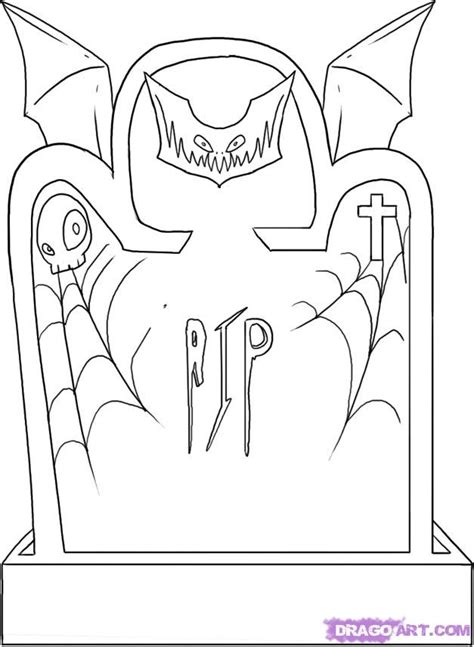 how to draw a cartoon tombstone or gravestone step by