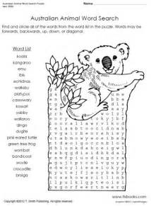 Snapshot image of australian animal word search puzzle