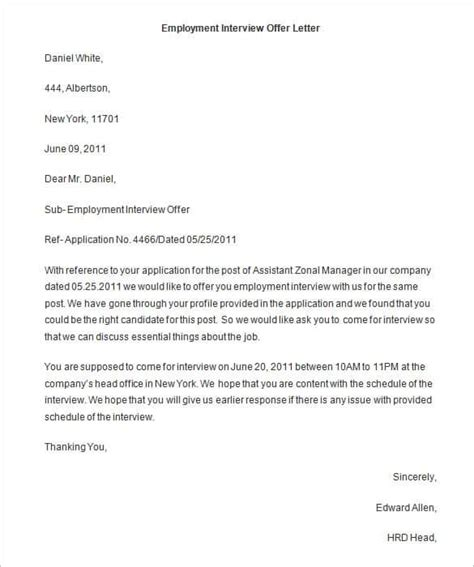 Offer Letter Format For Employee offer letter template 62 free word pdf format free
