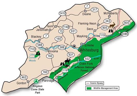 kentucky map harlan county adventure tourism in letcher county