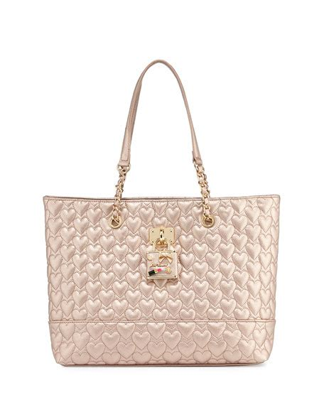 betsey johnson be my baby quilted tote bag gold