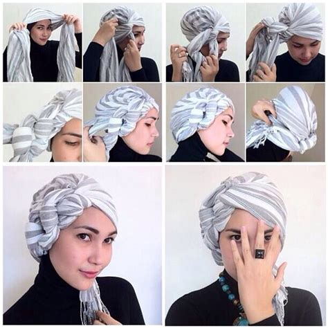tutorial hijab turban hari raya how to tie hijab hijab tying pinterest head wraps