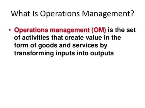 What Is Operations Management Mba by Mba Ii Pmom Unit 1 1 Introduction To Production