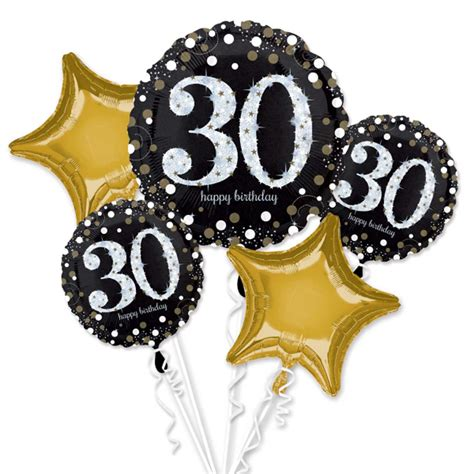 30th happy birthday foil balloon bouquet black silver gold