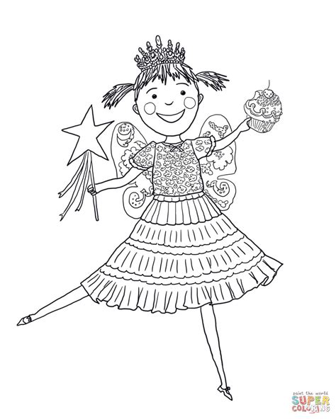 pinkalicious with pink cupcakes coloring page free