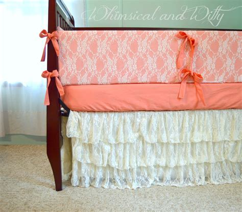 Lace Crib Bedding Salmon And Lace Baby Crib Bedding Salmon Pink And Ivory