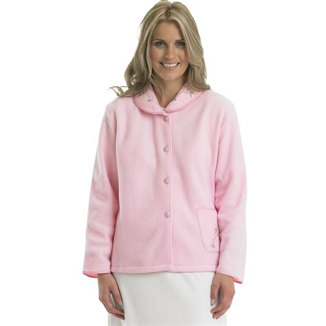 fleece bed jacket slenderella ladies polar fleece button up bed jacket