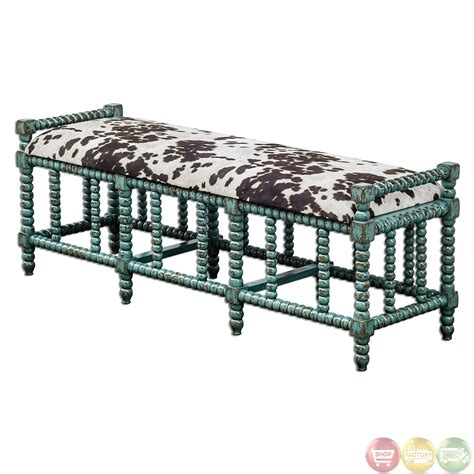 cow print bench chahna turquoise cow print western style cushioned bench 23614