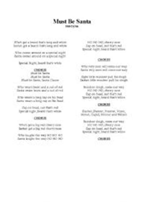 Printable Lyrics Must Be Santa | english teaching worksheets must be santa bob dylan