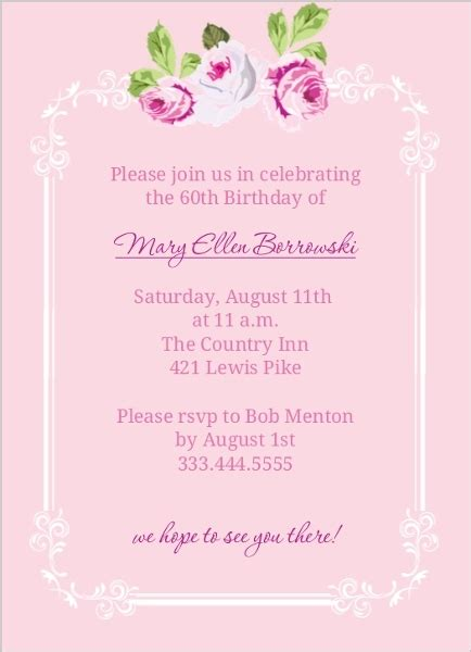 sle invitation for 60th birthday pink floral 60th birthday invite 60th birthday invitations