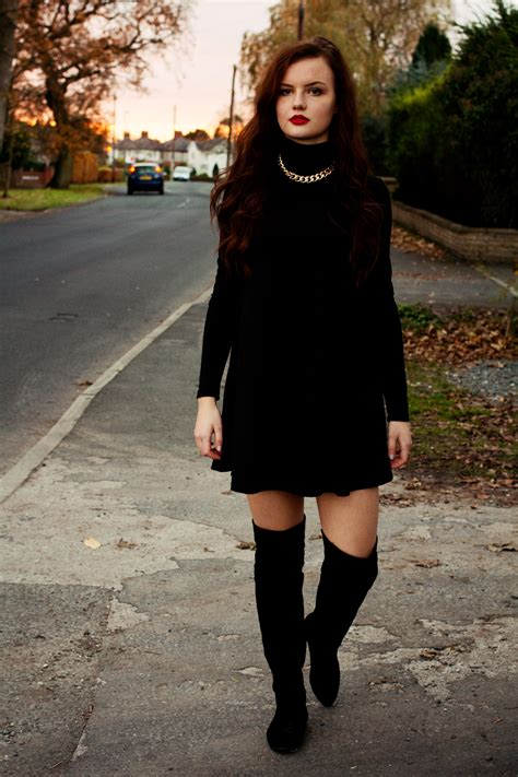 dress with boots black boots and black swing dress joli house
