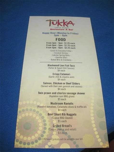 S Kitchen Cayman Menu by Happy Hour Food Menu Picture Of Tukka East End