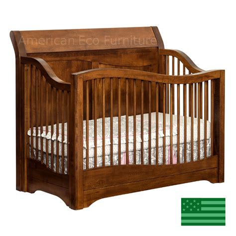 Amish Trenton4 In 1 Convertible Baby Crib Solid Wood Amish Baby Crib