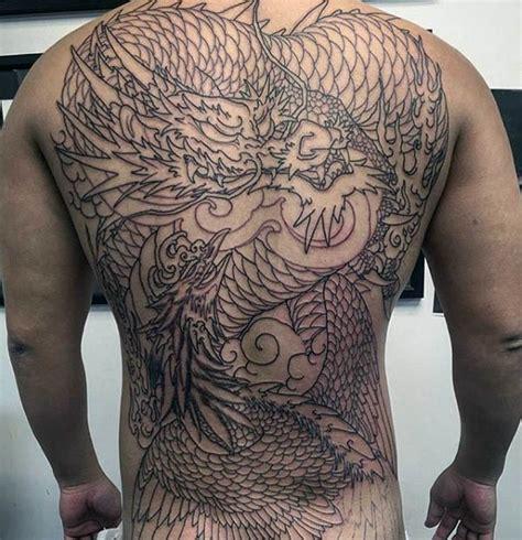 ghastly dragon tattoo on back dragon phoenix mens full back tattoo with black ink design