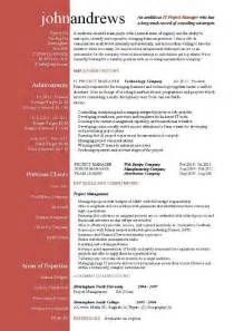 Sample Resume For Project Management Position Project Manager Cv Template Construction Project