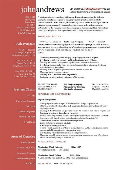 Cv Management by Project Manager Cv Template Construction Project