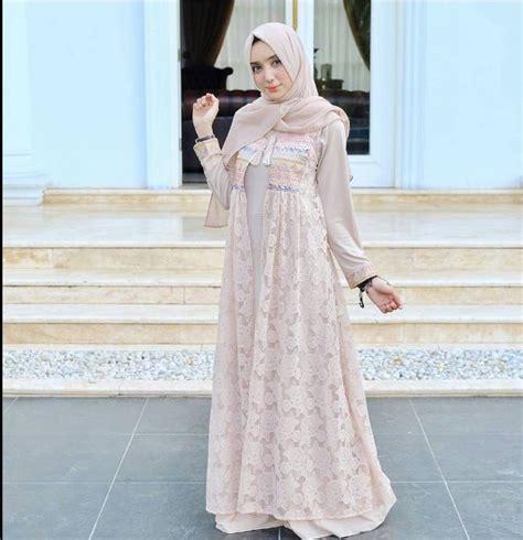 Model Gamis Terkini 32 model gamis brokat pesta paling terkini model baju muslim terbaru 2018