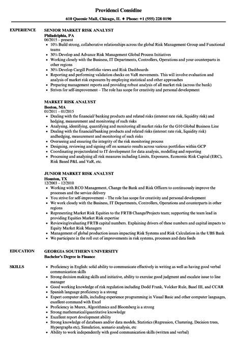Market Risk Analyst Sle Resume by Market Risk Analyst Resume Sles Velvet