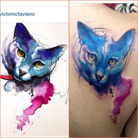 watercolor tattoos cat watercolor cat victoroctaviano