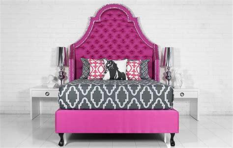 www roomservicestore bel air bed in pink textured linen