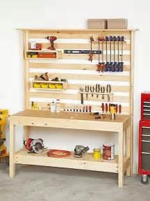 workbench with wall storage woodworking plan workshop