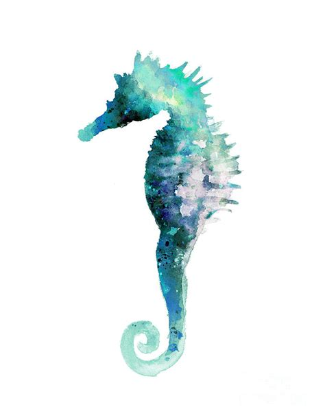 Metal Fish Wall Decor Blue Seahorse Minimalist Painting Painting By Joanna Szmerdt
