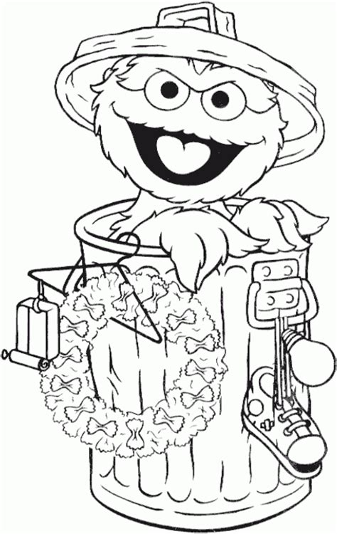 Christmas Oscar The Grouch Coloring Page Coloring Com Oscar The Grouch Coloring Pages