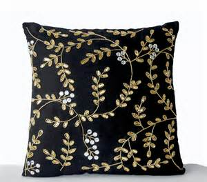 black pillows black accent pillow black gold pillows