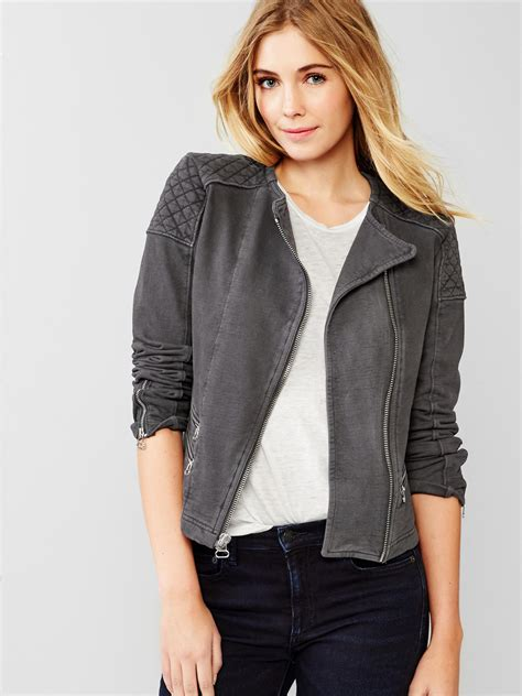Gap Quilted Jacket by Gap Quilted Moto Knit Jacket In Black Soft Black Lyst
