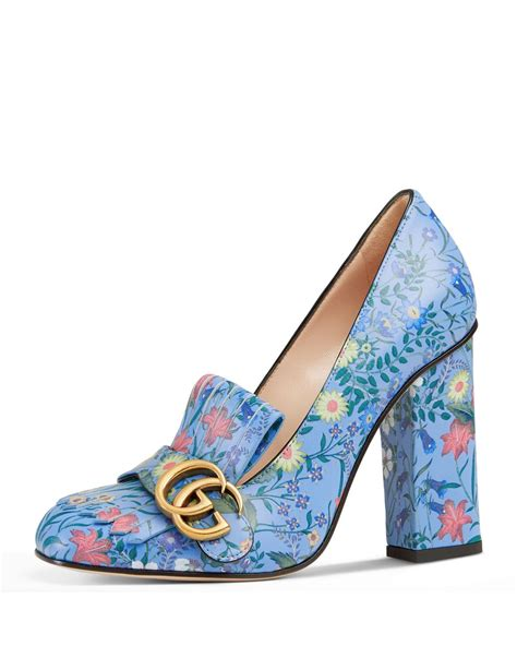 blue patterned heels lyst gucci marmont new floral loafer pump in blue