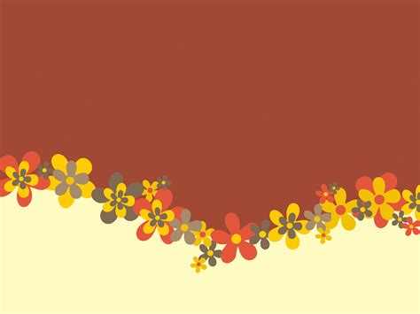 Spring Flowers Design PPT Backgrounds   Brown, Flowers