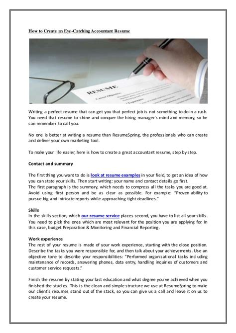 how to write an eye catching resume how to create an eye catching accountant resume